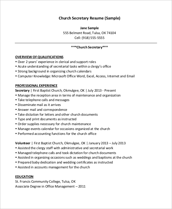 free sample secretary resume templates in ms word pdf examples church insurance adjuster Resume Secretary Resume Examples