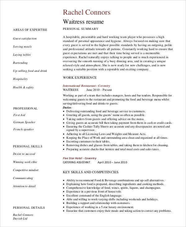 free sample server resume templates in ms word pdf food experience restaurant template Resume Food Server Experience Resume
