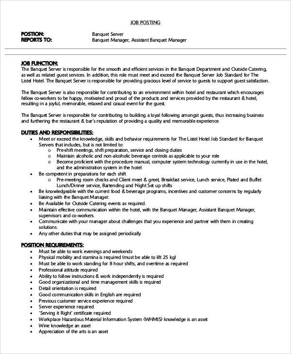 free sample server resume templates in ms word pdf job description for on banquet atlanta Resume Job Description For A Server On A Resume