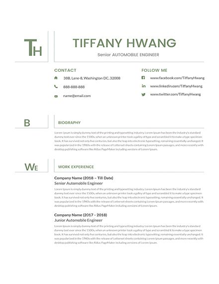 free senior automobile engineer resume cv template word indesign publisher civil Resume Automobile Engineer Resume