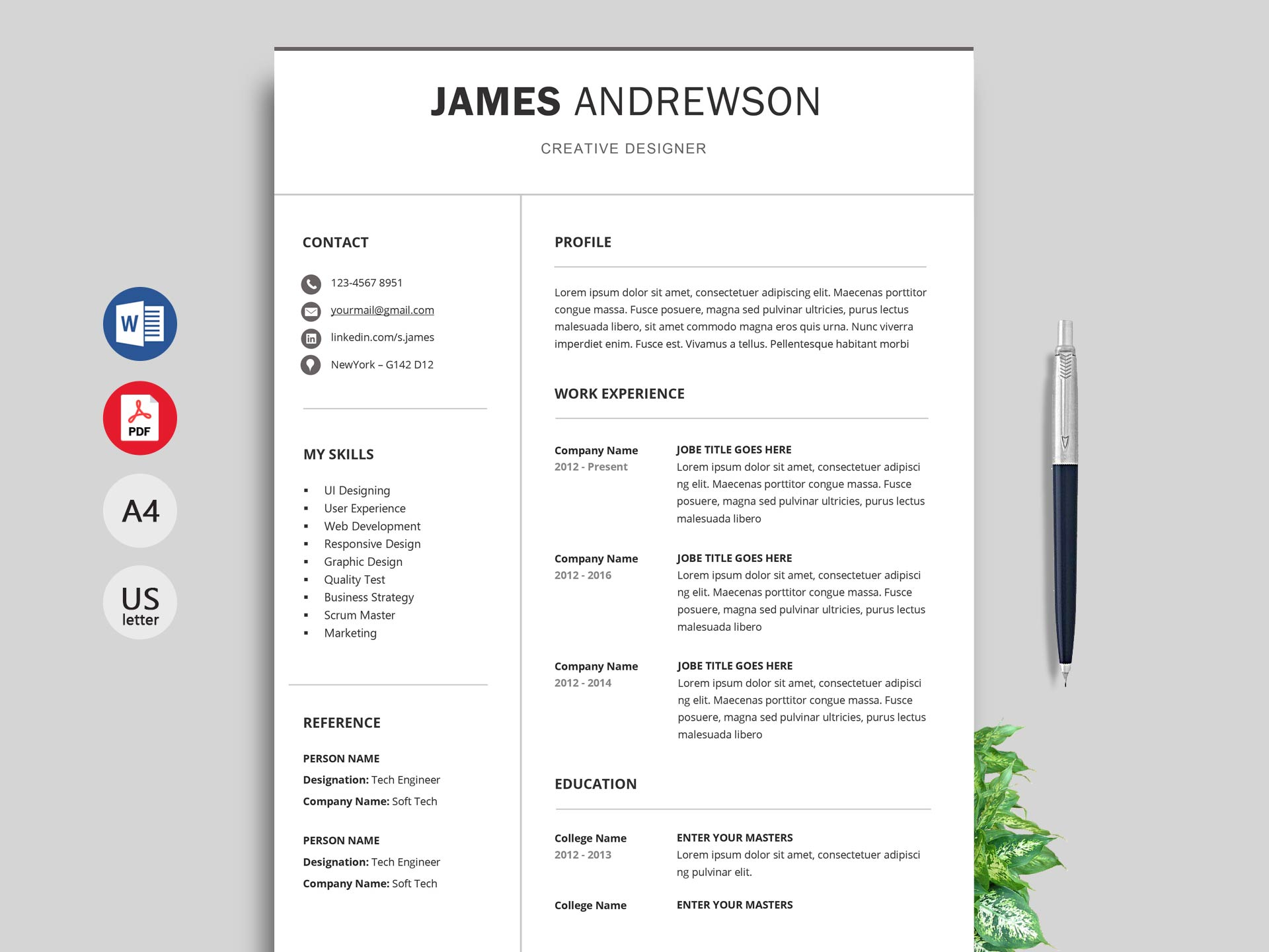 free simple resume cv templates word format resumekraft current adapt professional på Resume Current Resume Format 2019