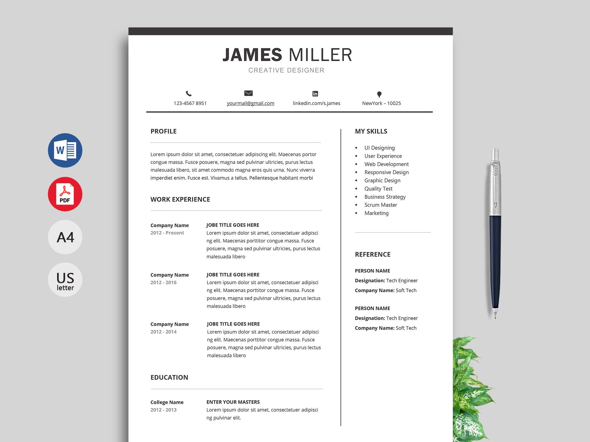free simple resume cv templates word format resumekraft current xpert template entry Resume Current Resume Format 2019