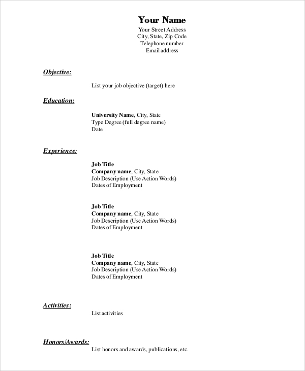 free simple resume format in ms word pdf file for job express objective statement Resume Simple Resume Format Word File Download