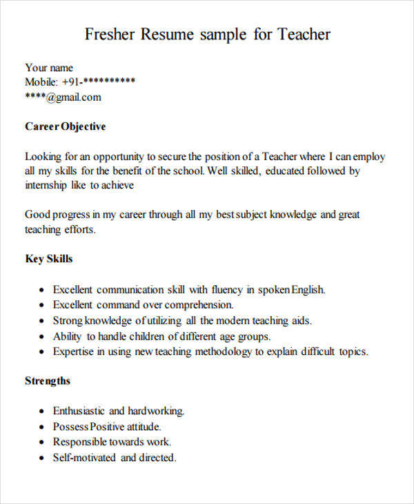 free teacher resume templates in pdf ms word montessori objective fresher primary work Resume Montessori Teacher Resume Objective