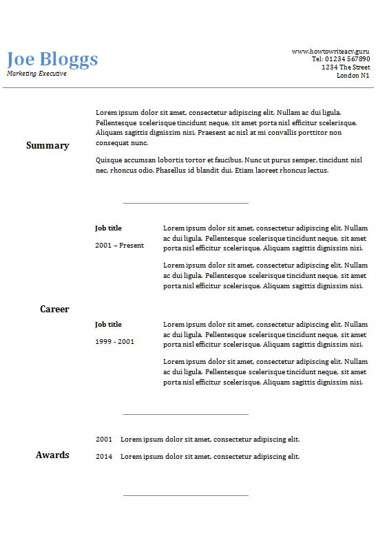 free two column text only cv resume template in microsoft word creativebooster format for Resume Word Resume Template Two Column