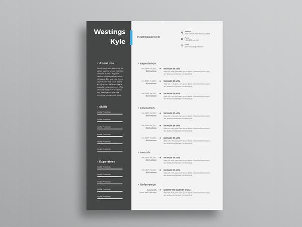 free ultra minimal two column photo resume cv template with cover lett creativebooster Resume Word Resume Template Two Column