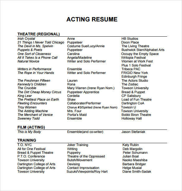 free useful sample acting resume templates in pdf ms word publisher professional example Resume Professional Acting Resume Example