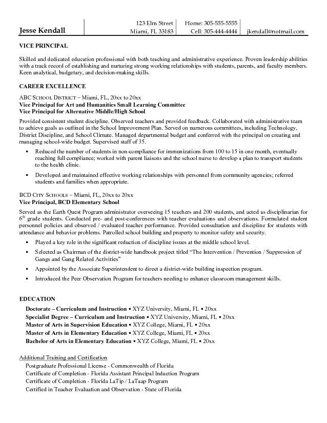 free vice principal resume example student template assistant examples sample summary for Resume Sample Principal Resume