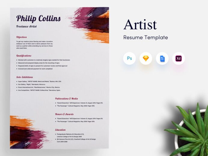 free tattoo artist resume template with clean and professional look medical Resume Artist Resume Template Free Download