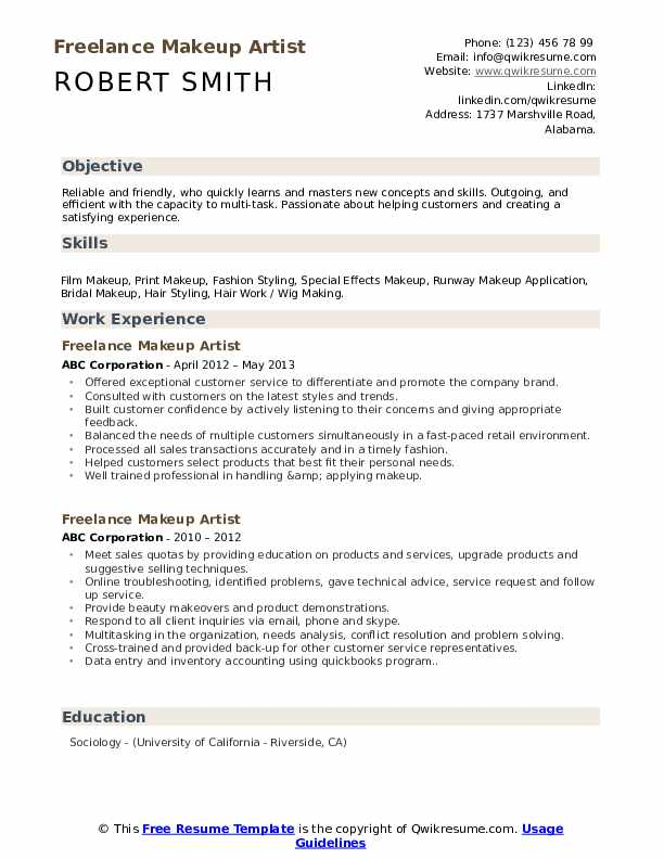 freelance makeup artist resume samples qwikresume pdf profile examples entry level Resume Makeup Artist Resume Freelance