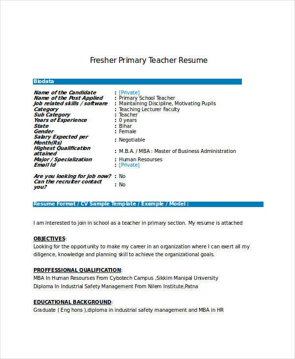 fresher resume templates in word free premium latest format for freshers primary teacher Resume Latest Resume Format 2017 For Freshers