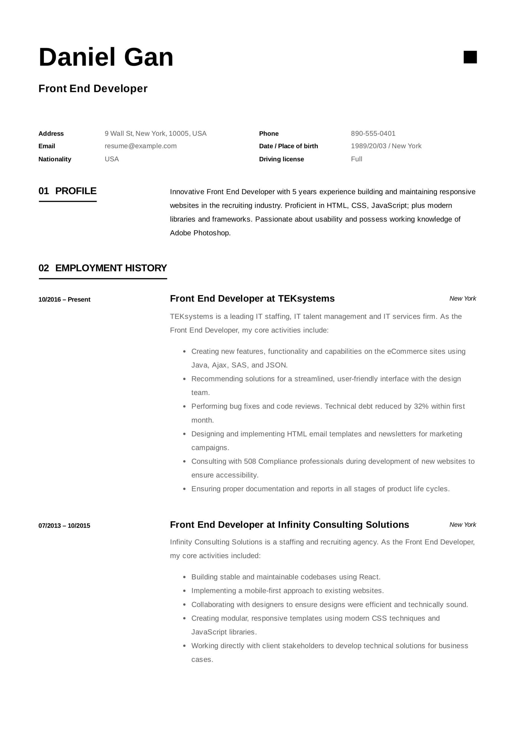 front end developer resume example examples template objective for one stop career center Resume Objective For Resume For Developer