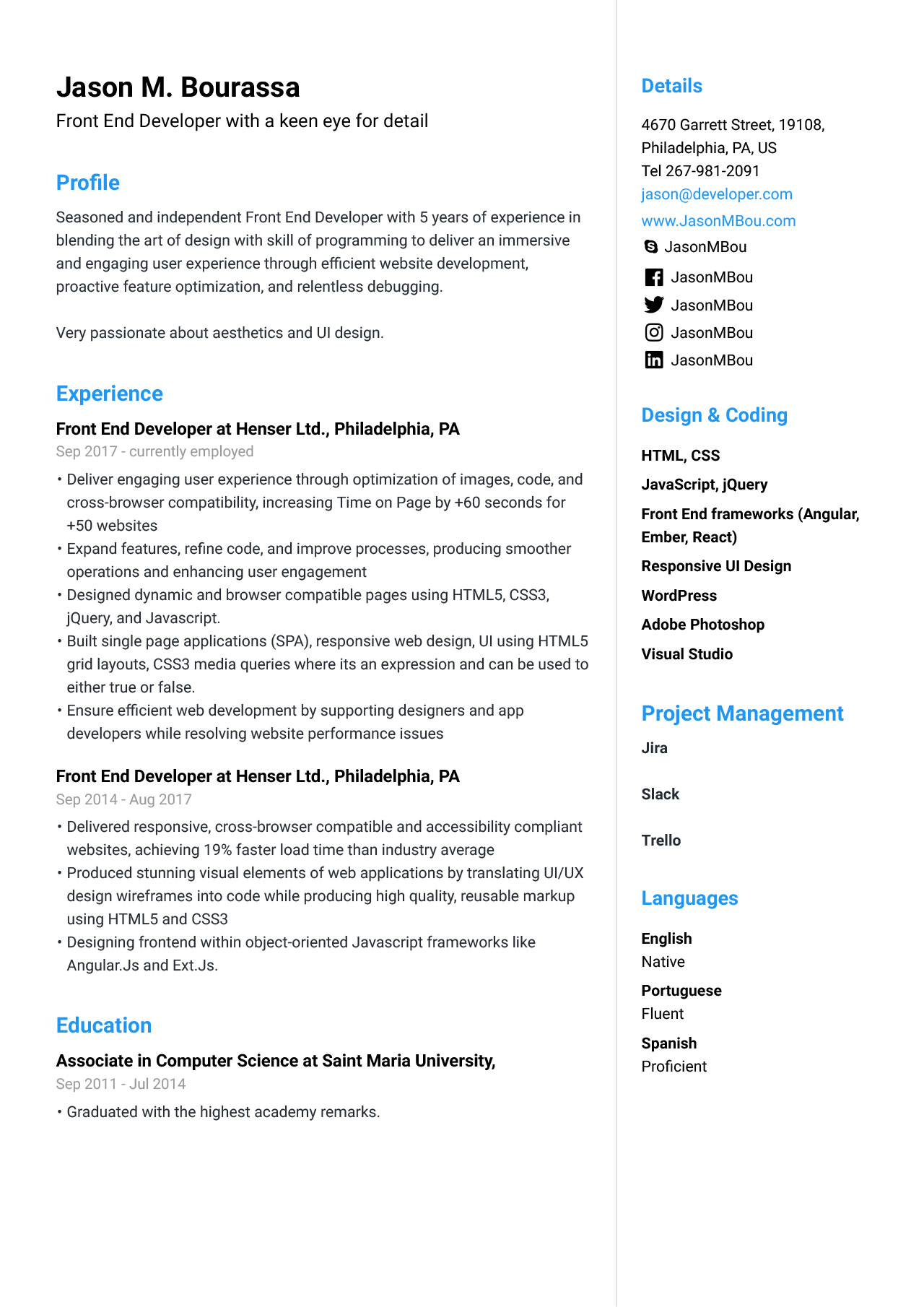 front end developer resume for example guide jofibo angular template professional Resume Angular Resume Template