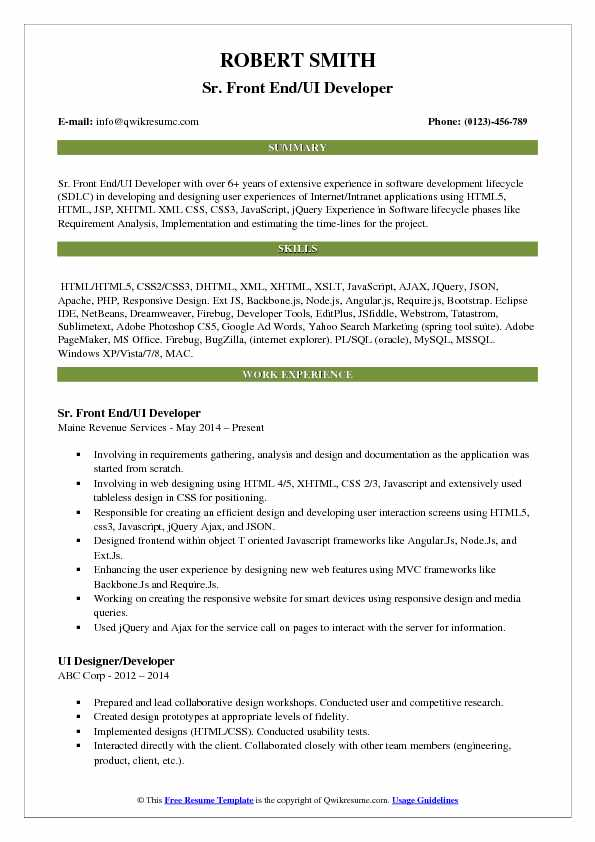 front end ui developer resume samples qwikresume angular template pdf professional Resume Angular Resume Template