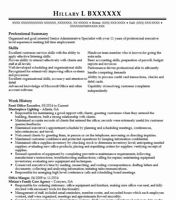 front office executive resume example resumes livecareer grace hopper database new format Resume Front Office Executive Resume Download