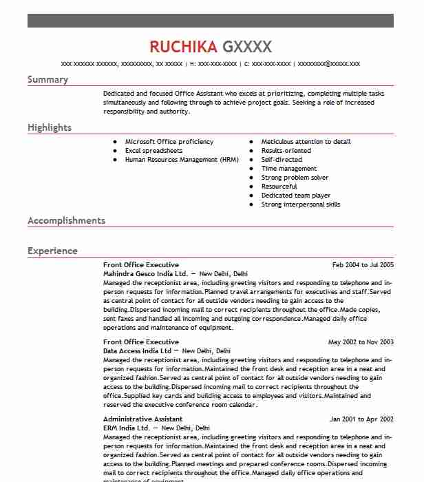 front office executive resume example resumes livecareer new format desk receptionist Resume Front Office Executive Resume Download