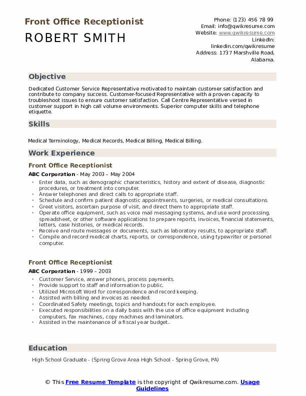 front office receptionist resume samples qwikresume examples position pdf entry level Resume Resume Examples Receptionist Position