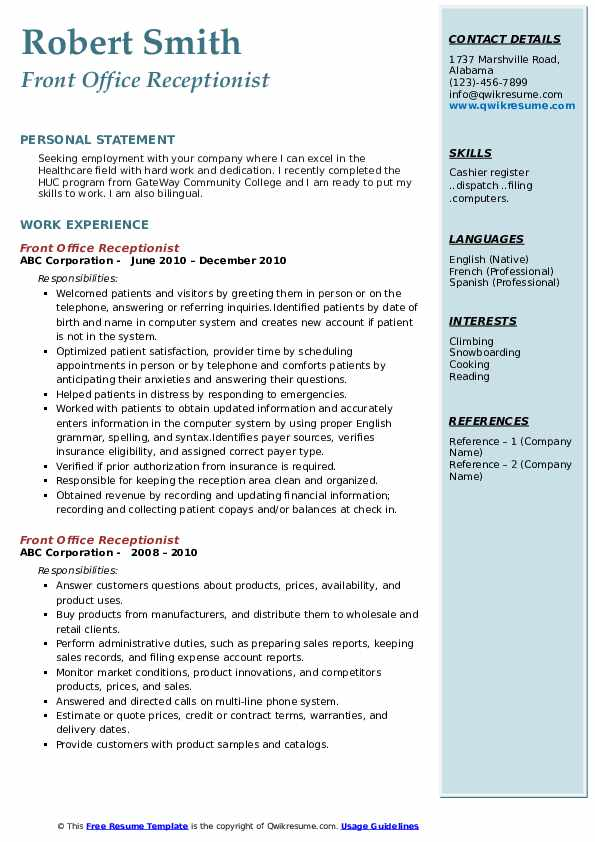 front office receptionist resume samples qwikresume executive pdf hotel general manager Resume Front Office Executive Resume Download