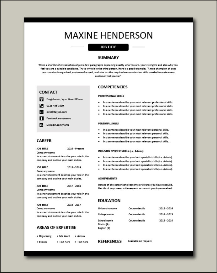 functional cv career achievements template skills based work experience cover letters Resume Functional Resume Example