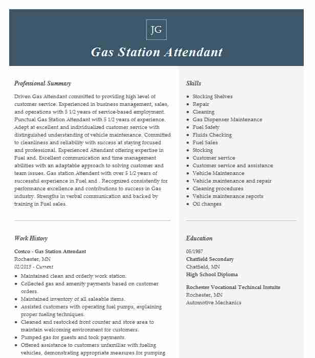 gas station attendant resume example resumes misc livecareer experience good hobbies on Resume Gas Station Experience Resume