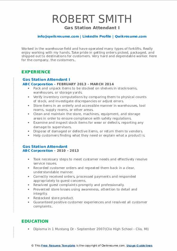 gas station attendant resume samples qwikresume experience pdf radiologist duties and Resume Gas Station Experience Resume