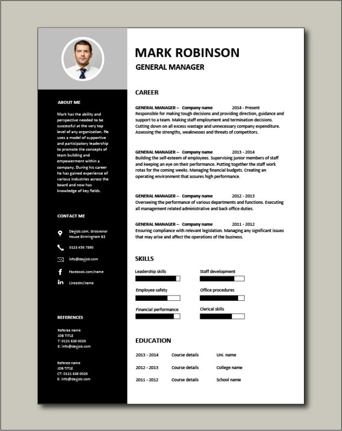 general manager cv sample responsible for daily operations and business performance Resume Resume For General Manager Position