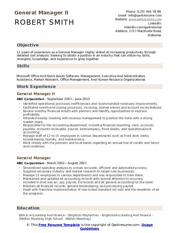 general manager resume samples qwikresume for position pdf remote program assistant ats Resume Resume For General Manager Position