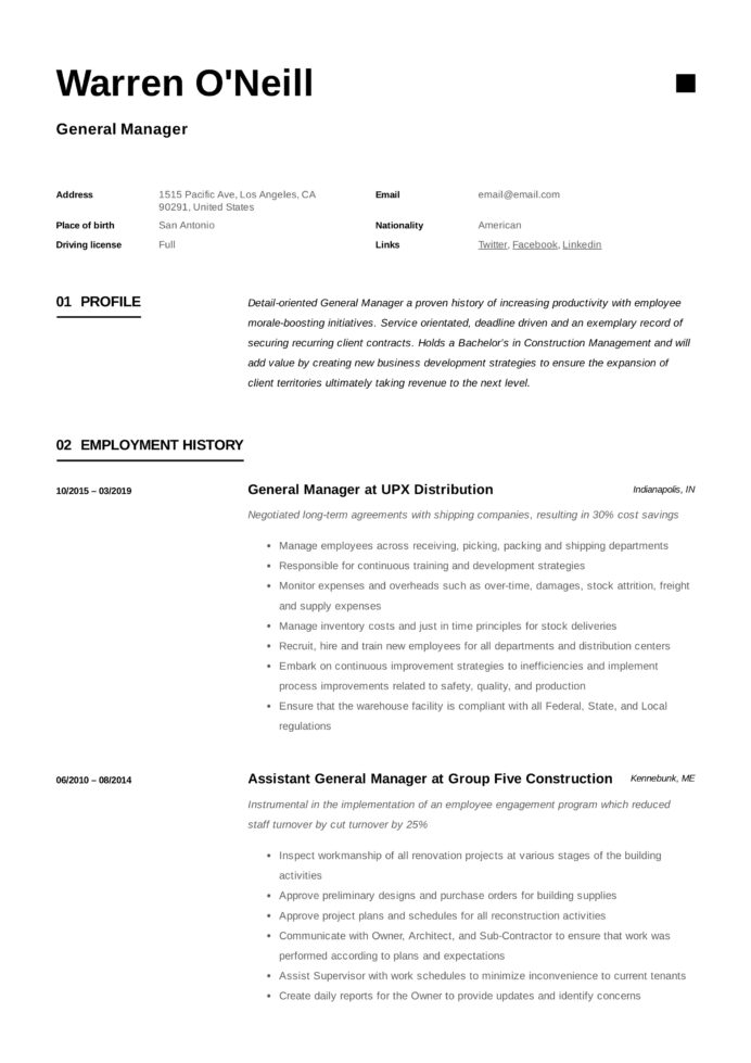 general manager resume writing guide examples pdf sample for position neill work and Resume Resume Sample For General Manager Position