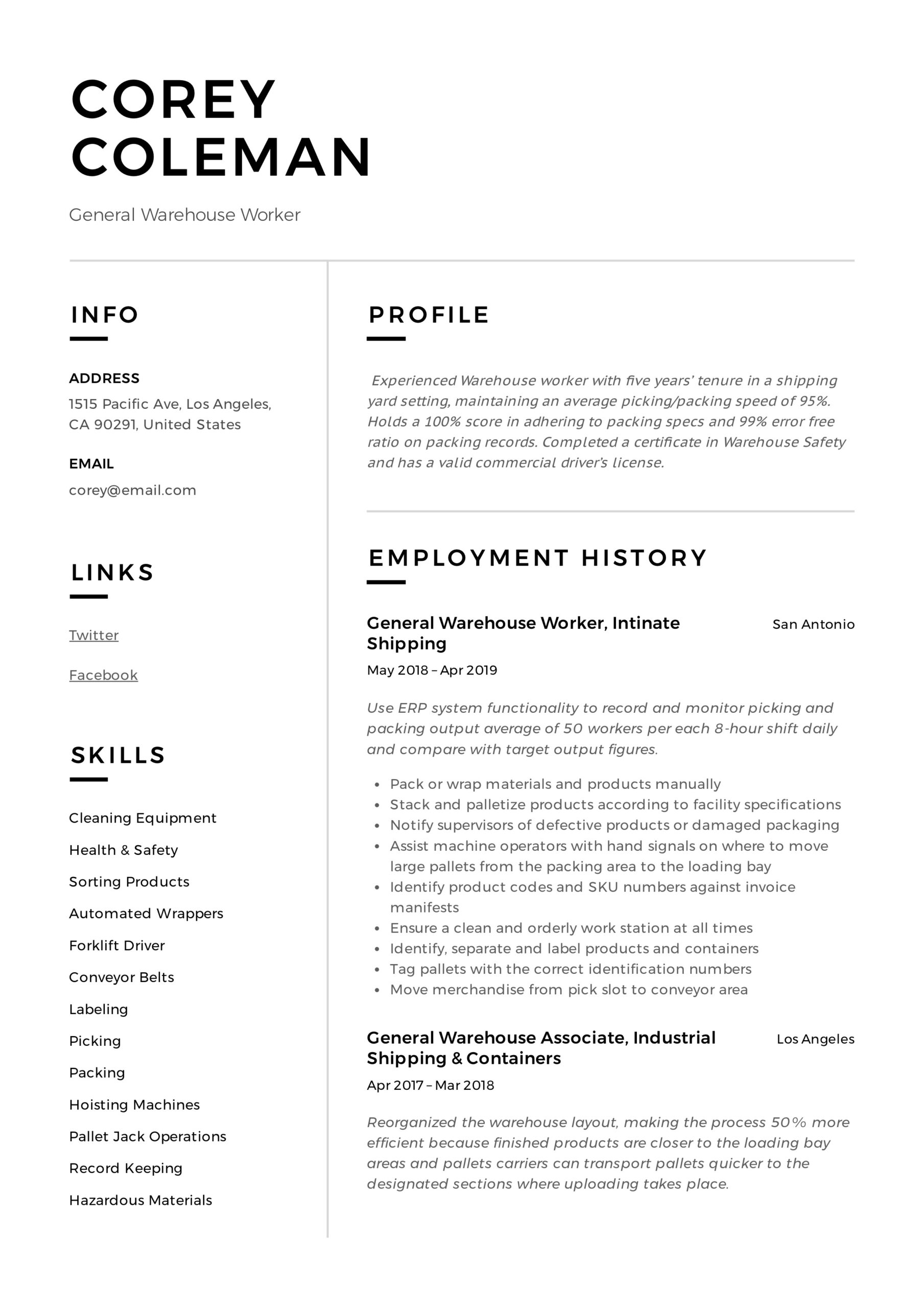 general warehouse worker resume guide templates examples for associate corey with short Resume Resume Examples For Warehouse Associate