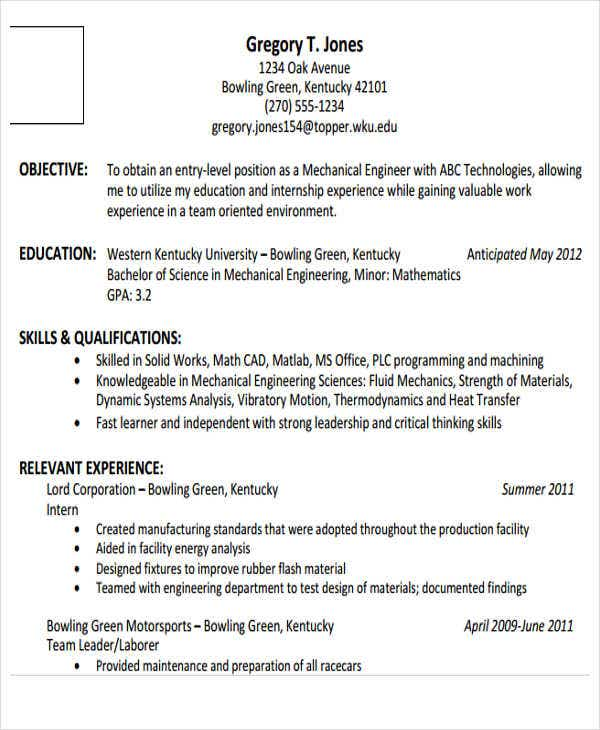 generic engineering resume templates free premium entry level mechanical resume3 Resume Entry Level Mechanical Engineering Resume