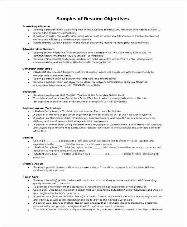 generic objective for resume inspirational example samples statement examples Resume Communication Resume Objective Examples