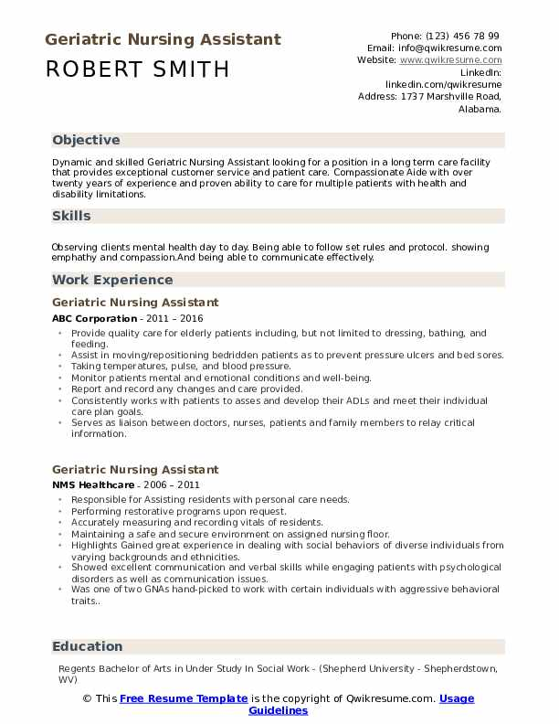 geriatric nursing assistant resume samples qwikresume entry level cna sample pdf writing Resume Entry Level Cna Resume Sample