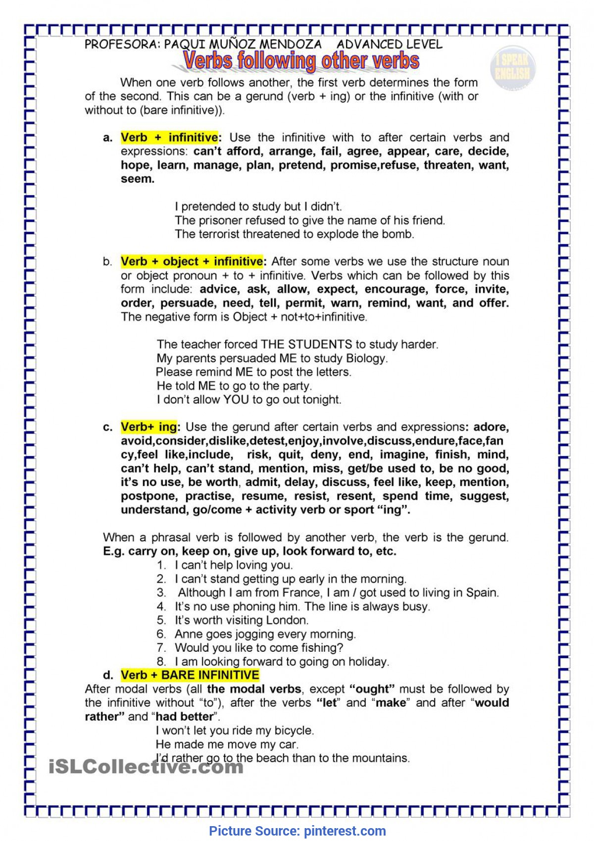 gerund infinitive role play worksheet printable worksheets and activities for teachers Resume Resume Gerund Or Infinitive
