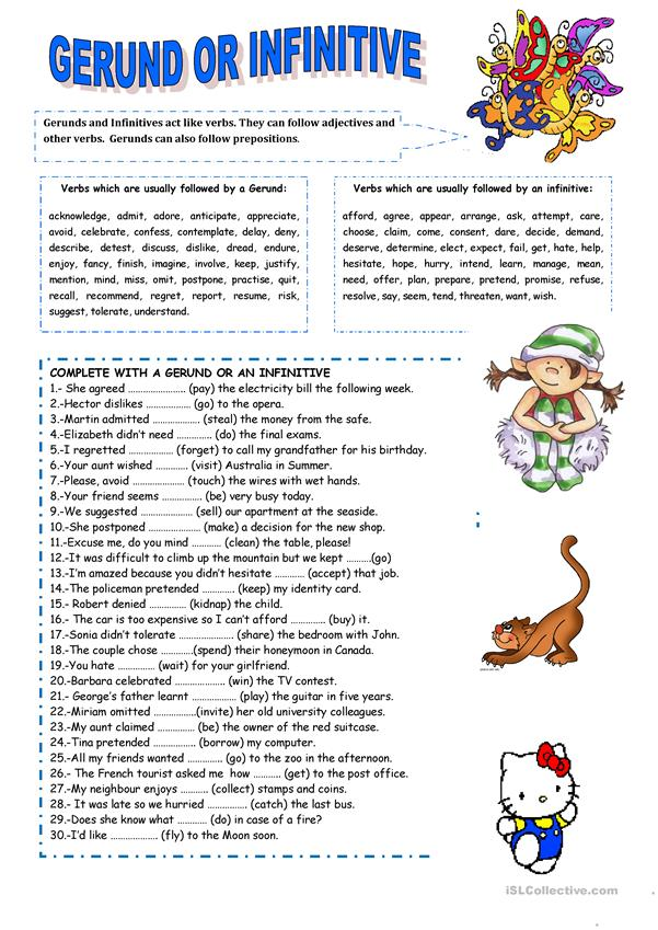 gerund or infinitive english esl worksheets for distance learning and physical classrooms Resume Resume Gerund Or Infinitive