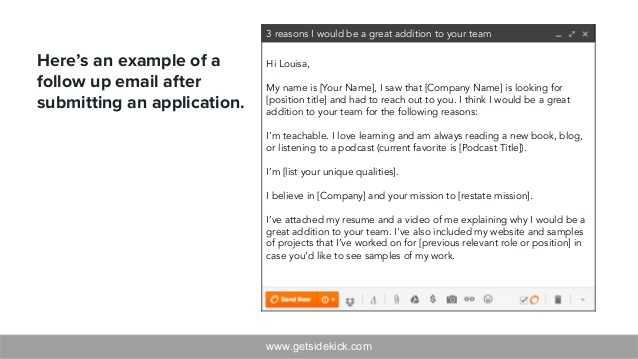 getsidekick here an example of follow up email after submitting resume to avoid sending Resume Example Of Follow Up Email After Submitting Resume