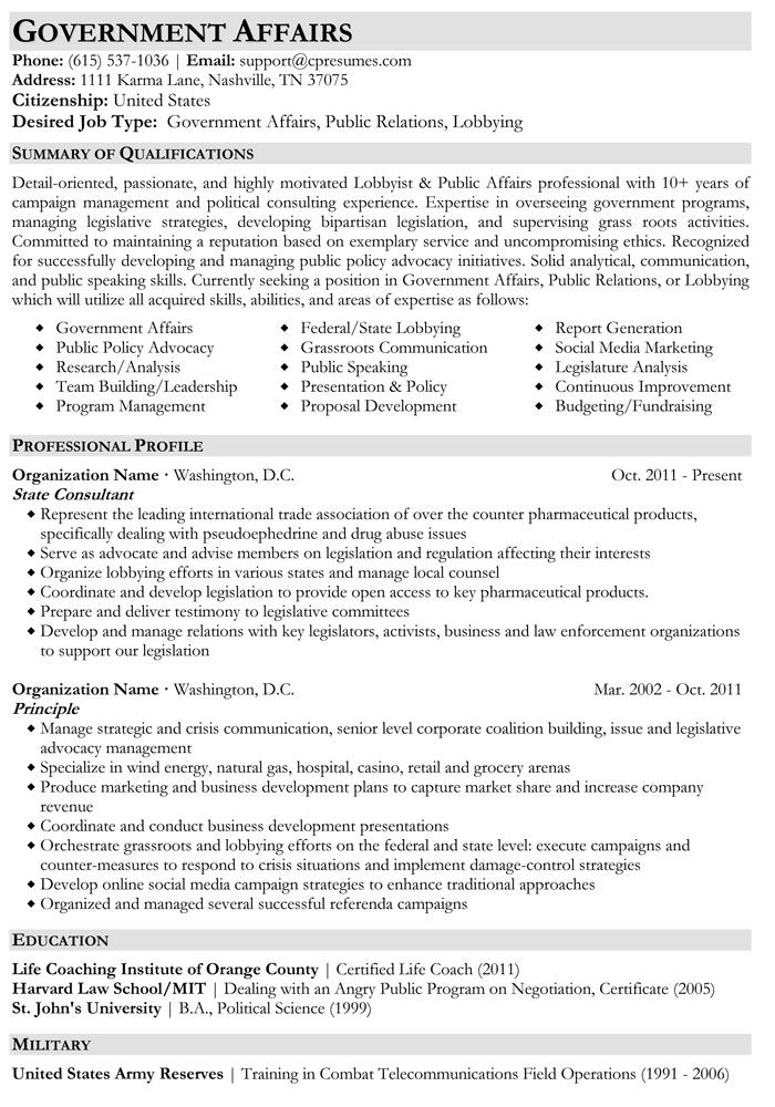 government affairs resume sample job examples federal format samples legislative Resume Government Resume Samples