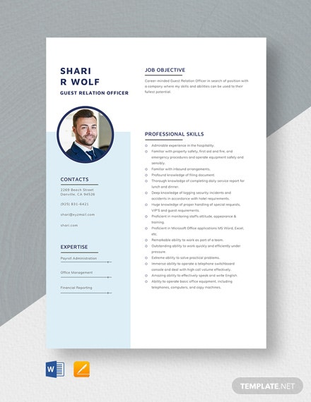 guest relation officer resume cv template word apple mac customer relations levels of Resume Customer Relations Officer Resume