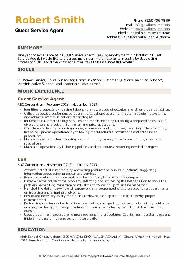 guest service agent resume samples qwikresume customer hospitality pdf scholarship Resume Customer Service Hospitality Resume