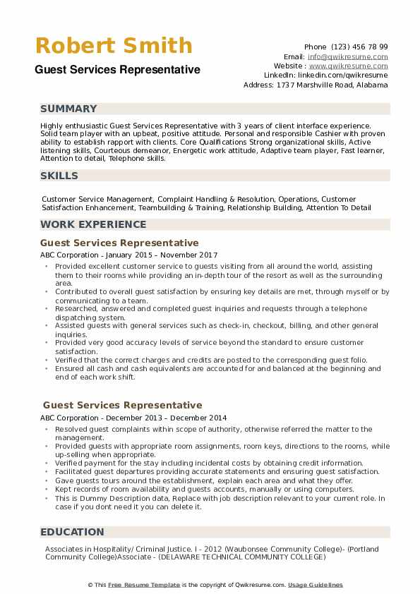 guest services representative resume samples qwikresume customer service hospitality pdf Resume Customer Service Hospitality Resume