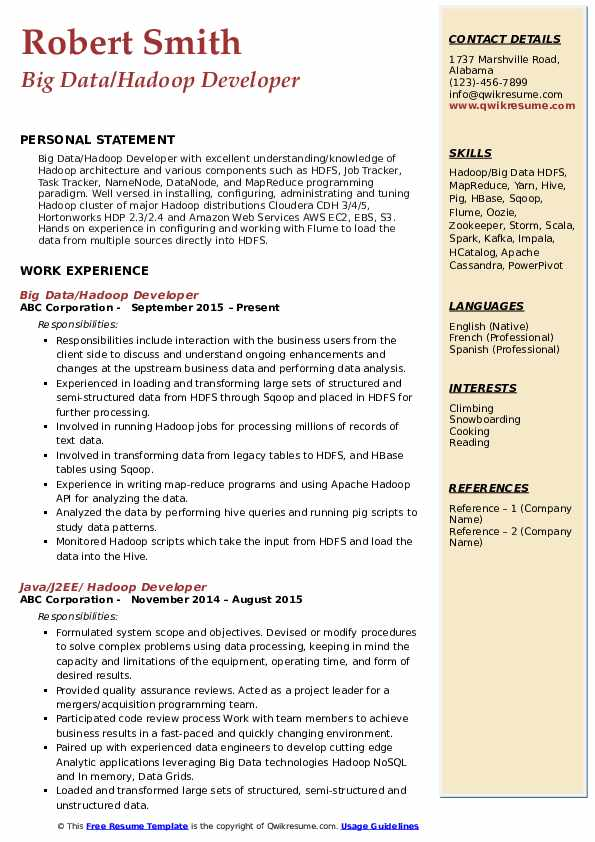 hadoop developer resume samples qwikresume experience pdf objective for freshers examples Resume Hadoop Experience Resume