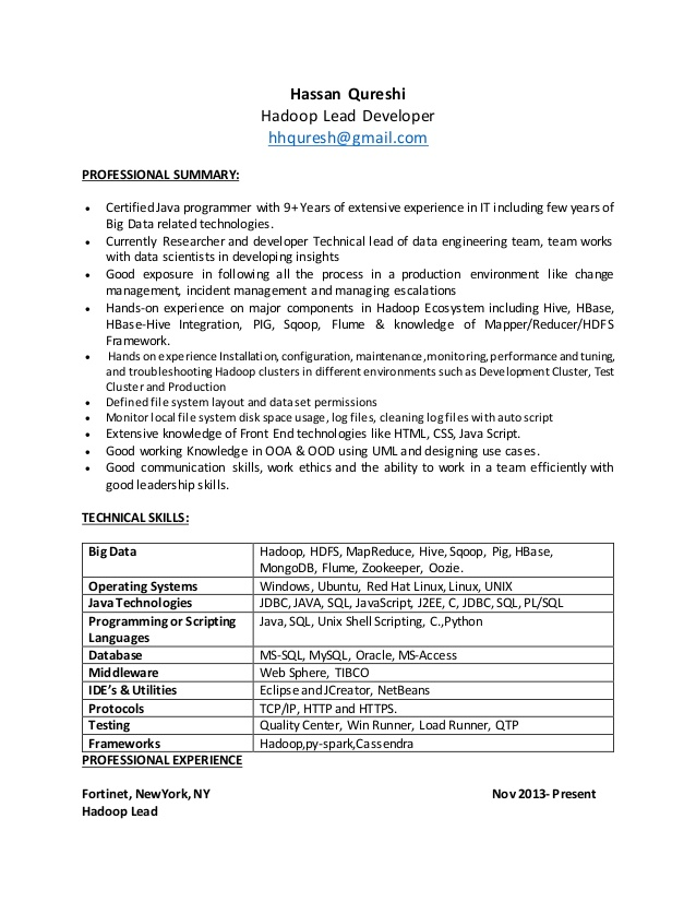 hadoop resume experience housekeeping duties best layout objective for freshers examples Resume Hadoop Experience Resume