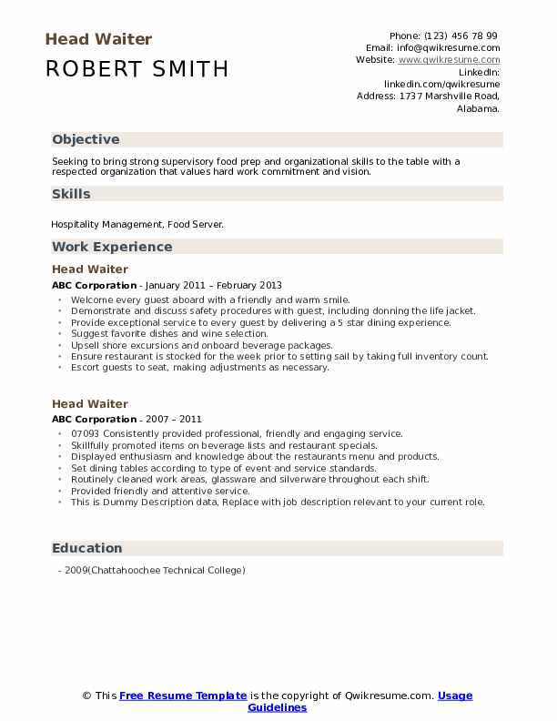 head waiter resume samples qwikresume job description for server on pdf le chagrin des Resume Job Description For A Server On A Resume