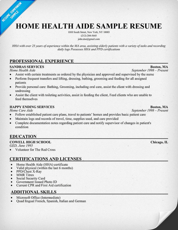health care assistant resume examples home aide sample hard working skills for generic Resume Home Health Care Resume