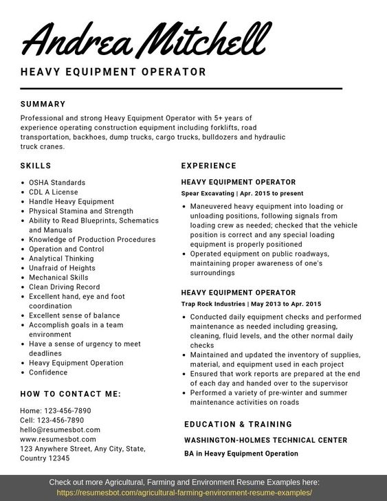 heavy equipment operator resume samples templates pdf word resumes bot examples job Resume Heavy Equipment Operator Supervisor Resume