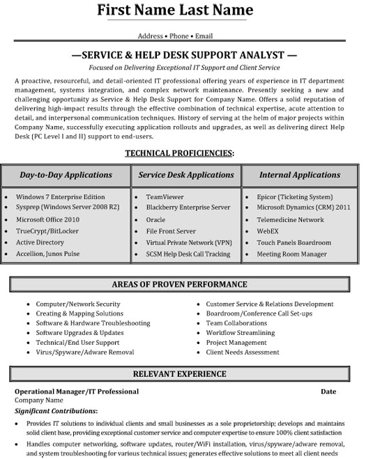 help desk support resume sample template service analyst primary caregiver entry level Resume Help Desk Support Resume
