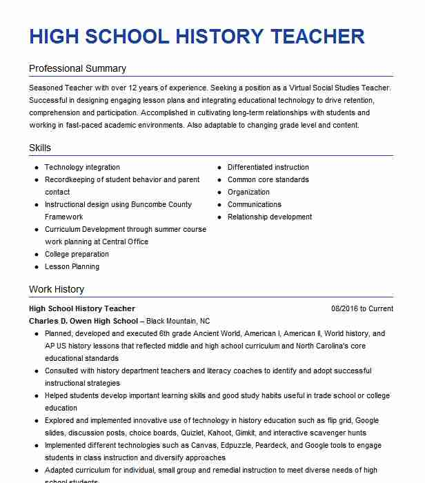 high school history teacher resume example livecareer lesson for students sample of Resume Resume Lesson For High School Students