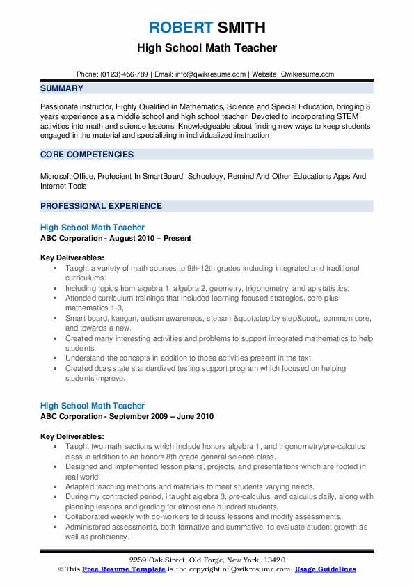 high school math teacher resume samples qwikresume lesson for students pdf ux researcher Resume Resume Lesson For High School Students