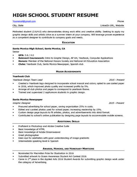 high school resume templates and examples fairygodboss sample for college Resume Sample High School Resume For College