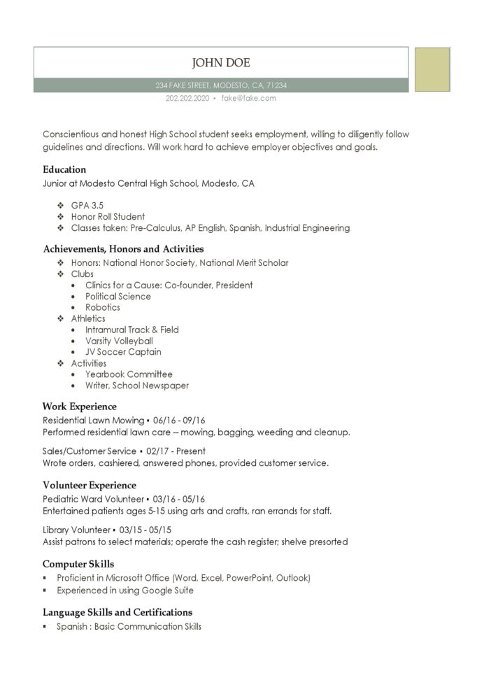 high school resume templates for students and teens fake volunteer experience college Resume Fake Volunteer Experience Resume