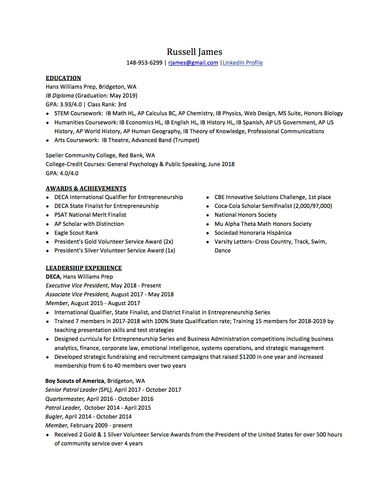 high school resume to write the best one templates included for honors college template Resume Resume For Honors College